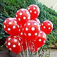 """Повітряна кулька """"Божа Корівка""""пастель червоний в білий горох кругова друк. 12 дюймів / 30см., фото 3"""