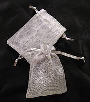 Мешочки для украшений, органза/сетка серебро, 7х9 см, 1 шт. Производство Украина