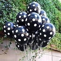 Надувные шары из латекса Черные в белый горошек 30см.