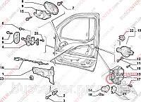 Ограничитель двери передней правой/ левой (стопорная тяга, фиксатор) Fiat Doblo (2000-2005) 51772768