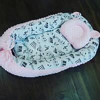 Кокон-гнездышко с музыкальным рисунком + ортопедическая подушка для новорожденных