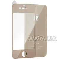 Защитное стекло iPhone 4s 2pcs глянец (золотой)