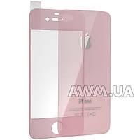 Защитное стекло iPhone 4s на обе стороны глянец (розовый)