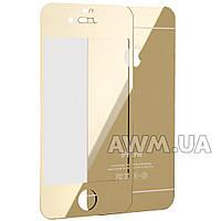 Защитное стекло iPhone 4s 2pcs зеркало (золотой)