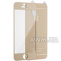 Защитное стекло iPhone 5s на обе стороны матовое золото