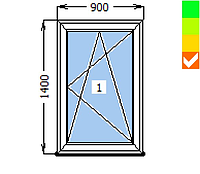 Окно ECOSOL-DESIGN 60, 1 створка ПО, 900х1300, стеклопакет энергосберегающий 32 мм (4-10ar-4-10-4i)