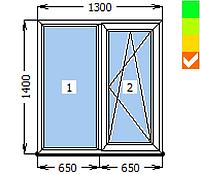 Окно ECOSOL-DESIGN 60, глухое+створка ПО, 1300х1400, стеклопакет энергосберегающий 32 мм (4-10ar-4-10-4i)