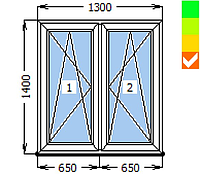 Окно ECOSOL-DESIGN 60, створка ПО+створка ПО, 1300х1400, стеклопакет энергосберегающий 32 мм (4-10ar-4-10-4i)