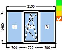 Окно ECOSOL-DESIGN 60, глухое+ПО+глухое, 2100х1400, стеклопакет энергосберегающий 32 мм (4-10ar-4-10-4i)