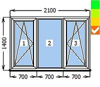 Окно ECOSOL-DESIGN 60, ПО+глухое+ПО, 2100х1400, стеклопакет энергосберегающий 32 мм (4-10ar-4-10-4i)