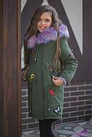 Хлопковая зимняя куртка-парка Джиральди для девочек (рост 140-158)