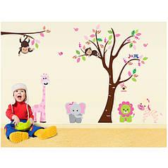 """Наклейка на стену в детскую комнату """"Звери возле дерева"""" 140*220см (2листа 60*90см)"""