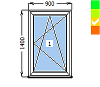 Окно EURO 70, 1 створка ПО, 900х1300, стеклопакет энергосберегающий 32 мм (4-10ar-4-10-4i)