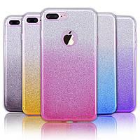 Силиконовый чехол с блестками - градиент для Apple iPhone 6/6s (4.7) (выбор цвета)