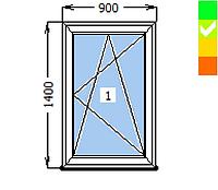 Окно Synego, 1 створка ПО, 900х1300, стеклопакет энергосберегающий 42 мм (4-16ar-4-14ar-4i )