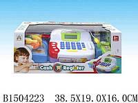 Кассовый аппарат на батарейках, микрофон, деньги, сканер, продукты, свет, звук, в коробке 38,5*16*19см