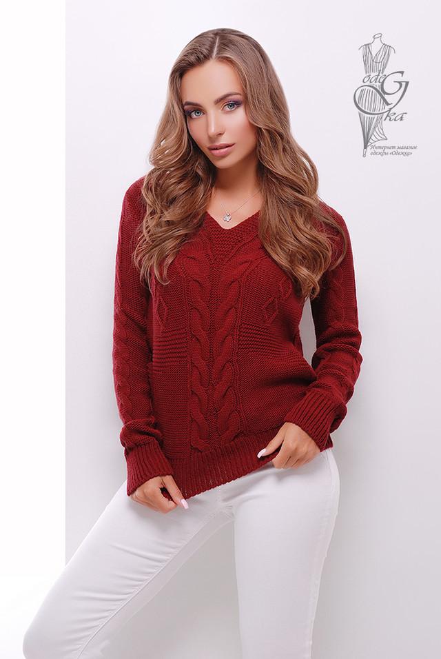 Цвет бордо Красивых женских свитеров Цветана-9