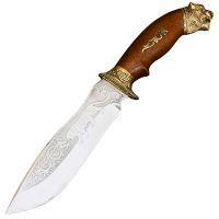 """Нож эксклюзивный Спутник """"Тигр"""" (длина: 29cm, лезвие: 15cm), в кожаных ножнах"""