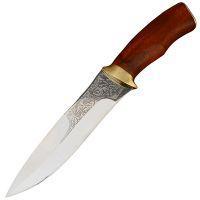"""Нож эксклюзивный Спутник """"Охотничий Кинжал"""" (длина: 28cm, лезвие: 15.5cm), в кожаных ножнах"""