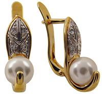 """Серьги """"Агам"""" с жемчугом, покрытые золотом с родием (e069q1h0)"""