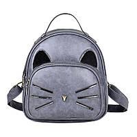 Рюкзак Кот с меховыми ушками (серый)