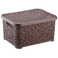 Ящик для хранения с крышкой коричневый большой