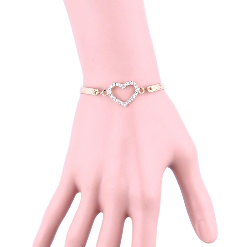 Красивый браслет женский Сердечко с кристаллами