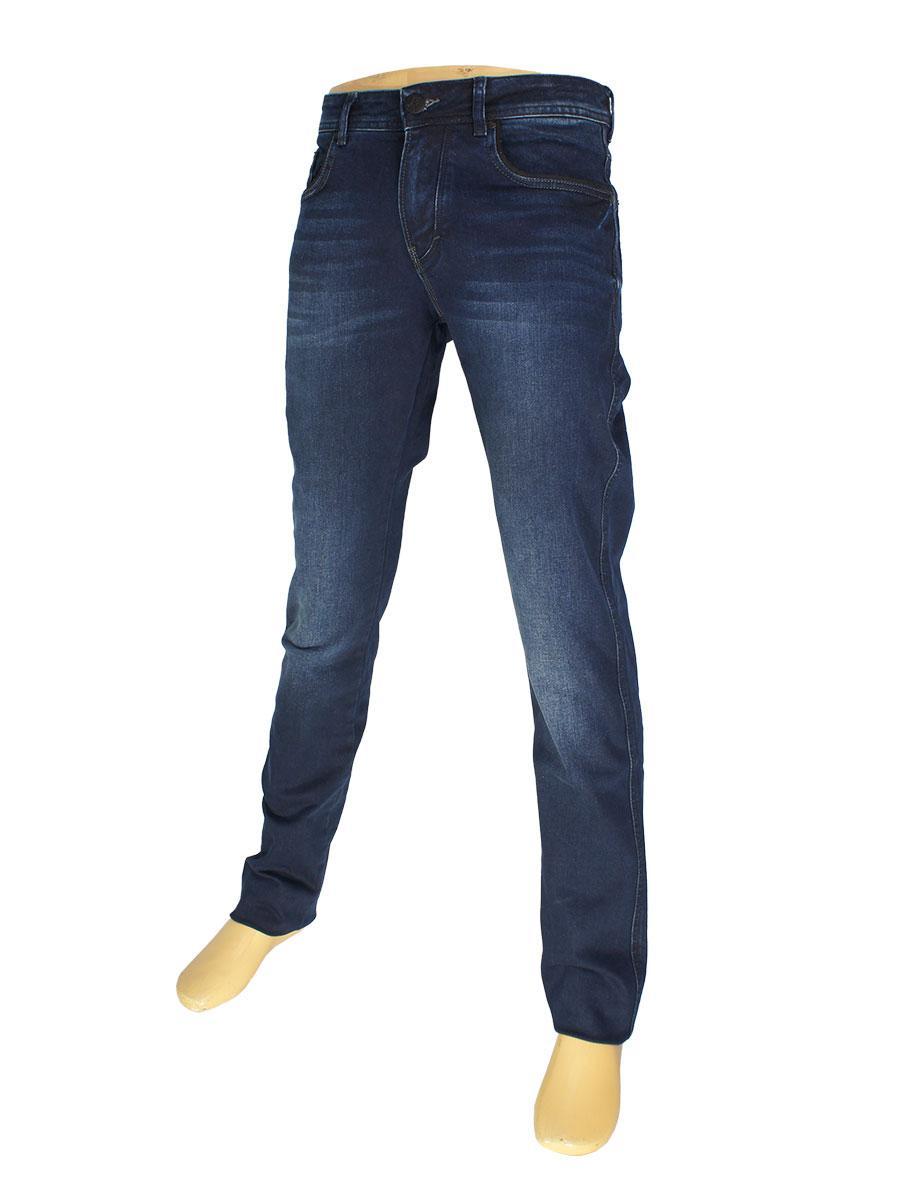 Стильные мужские джинсы  X-Foot 261-2266 темно-синего цвета