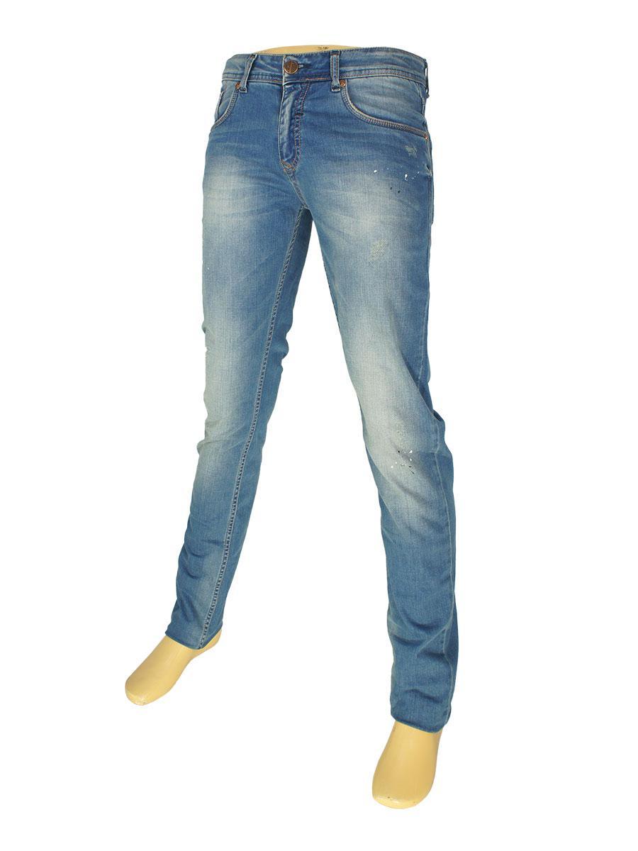 Молодежные стильные джинсы X-Foot 261-2297 в голубом цвете