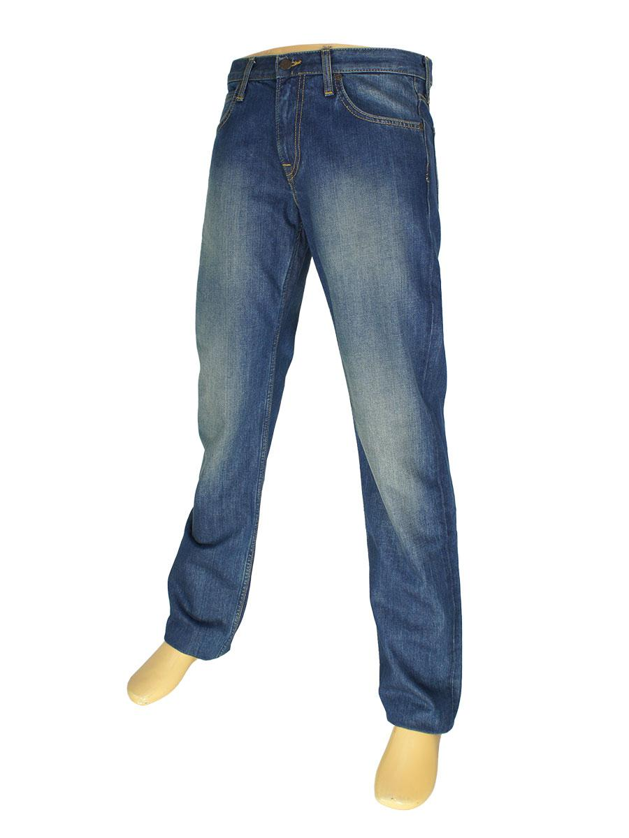 Мужские синие джинсы в стиле L 13-0256 с потертостями