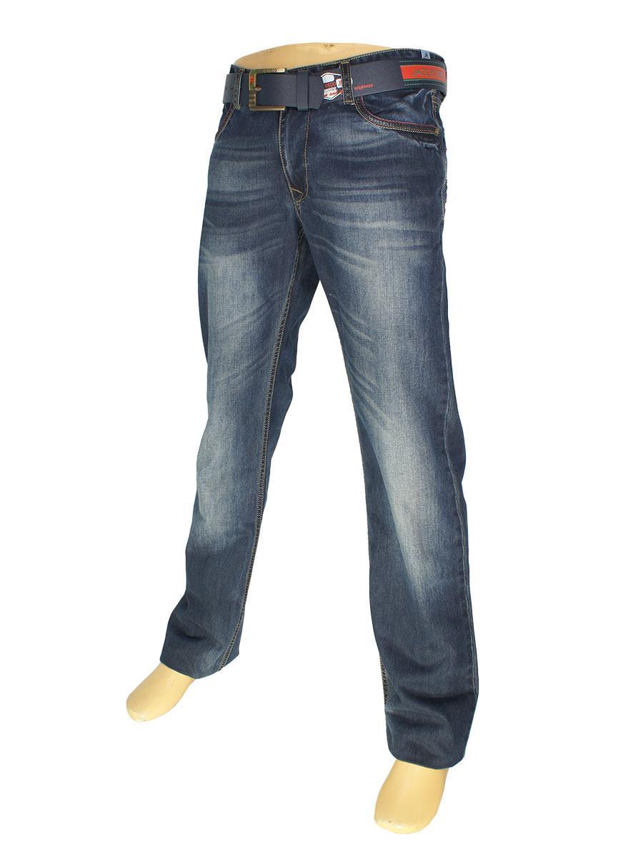 Темно-синие мужские джинсы Differ J553 SP.NO 0982 с потертостями