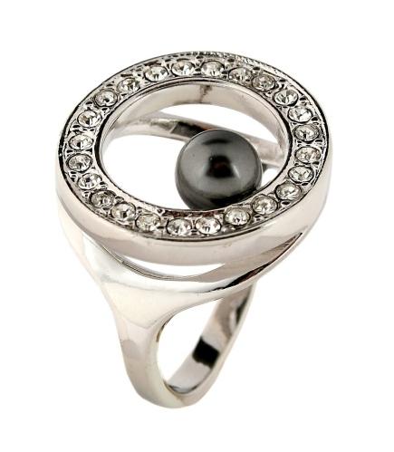 """Кольцо """"Круг"""" с жемчугом, покрытое родием (a461f0kb)"""