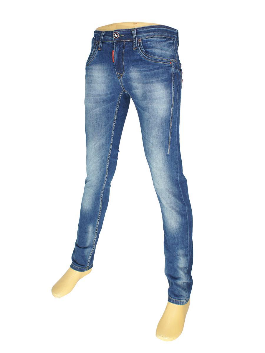 Зауженные мужские джинсы X-Foot 145-1607 в синем цвете