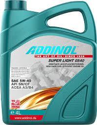 Синтетическое моторное масло Addinol super light  0540 Sae 5w-40 4l