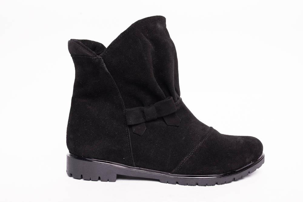 Ботинки из натуральной черной замши №188-2