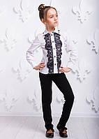 Подростковая белая рубашка P1011-1 для девочки (р. 122, 128, 152,164, 100% хлопок) ТМ ОКП Белый
