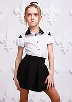Хлопковая школьная рубашка P1003-1 для девочки (р. 116, 122, 140!) ТМ ОКП Белый