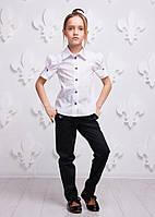 Классическая детская рубашка P1002-1 из хлопка для девочки (р. 134, 158!, школьная блузка) ТМ ОКП Белый