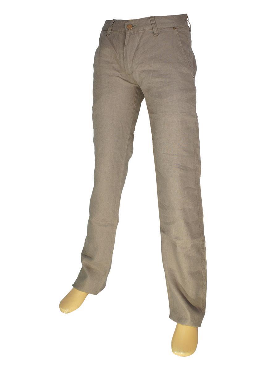 Лляні чоловічі джинси Cen-cor CNC-3033 C.5 в світло-коричневому кольорі