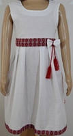 Платье-сарафан детское с вышивкой, без рукавов, белый лён, рост 110см, ПДЛ-0705 110