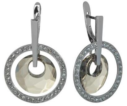 """Серьги """"Лакки"""" с кристаллами Swarovski, покрытые родием (j702f166)"""