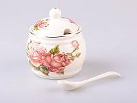 Фарфоровая сахарница с ложкой Lefard Корейская роза 86-1864