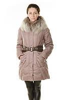 Женский зимний пуховик с мехом бежевый, фото 1