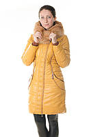 Зимний кожаный женский пуховик Daser