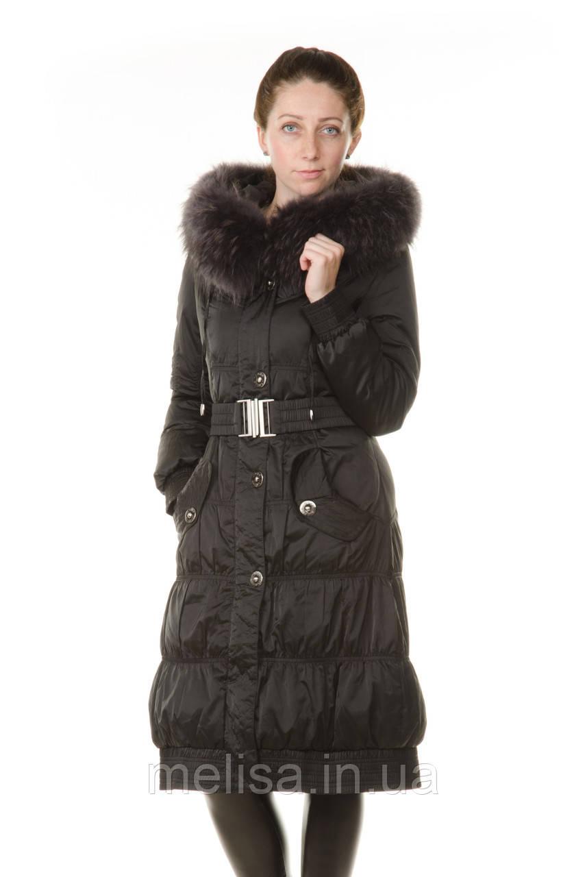 Зимний пуховик женский с натуральным мехом