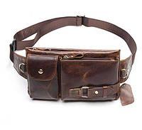 Кожаная сумка мужская на плечо или на пояс коричневая Westal