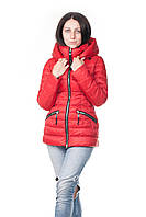 Женский зимний пуховик Clasna красный короткий, фото 1