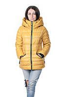 Женский зимний пуховик Clasna короткий желтый