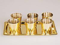 Подарочный набор латунных рюмок на подносе 878-033