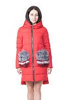 Зимняя женская куртка с карманами из натурального меха VoTarun